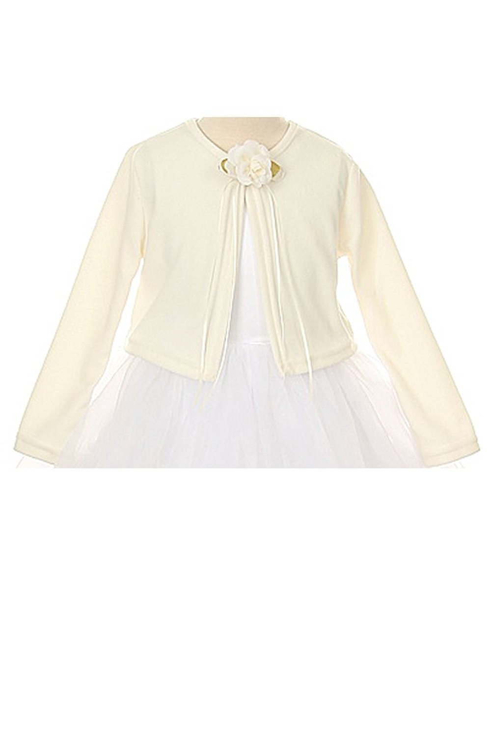 Basic Knit Special Occasion Girl's Cardigan Jacket Sweater - Ivory Girl 9/10 by Kid's Dream