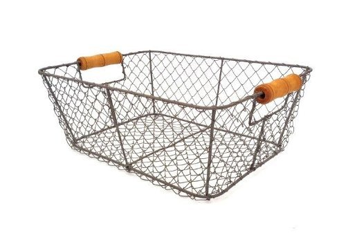 Wire Storage Basket Metal Mesh Crate Vintage Chic Industrial Style Caddy Trug