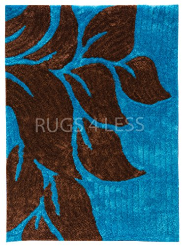 Rugs 4 Less 3D Shag Contemporary Living Collection Modern Abstract Multicolor Super Soft Fuzzy Cozy Shaggy Area Rug in Turquoise Blue and Dark Brown – Yoselin Blue (3x5) (Rugs Area Target Purple)