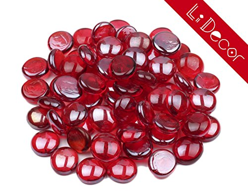 LI DECOR 10 Pounds Fire Glass Fire-Drops Semi-Reflective for Fire Pit Glass,Fireplace Glass Rocks,Fireplace Decor,Fire Pit Accessories,1/2-Inch,Rubine Luster (Red) (Pit Glass Fire Red)