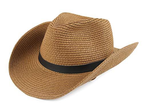 Melesh Soft Foldable Beach Adult Sun Straw Western Cowboy Hat (Light Coffee)