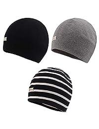JANGANNSA 3-Pack Newborn Baby Beanie Hats Hospital Hat Unisex Cotton Lovely Infant Caps