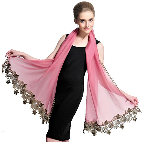 Fashion Scarves/Air conditioning shawl/Silk scarf/Solid color lace women's fashion for fall/winter sun scarf-A One Size by clothing