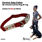 """Activedogs Service Dog Collar W/Chrome Service Dog ID Tag (14"""" - 20"""", Red)"""