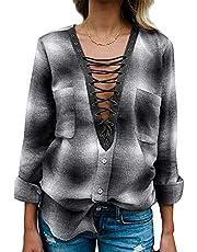 Yidarton Women Long Sleeve Plaid Shirt V Neck Casual Loose Pocket Button Down Shirts (Small, Grey)
