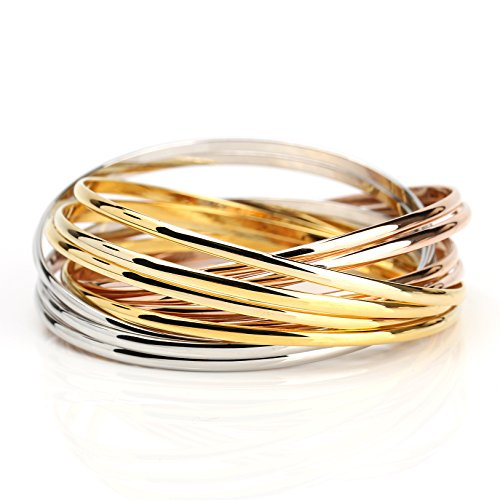 United Elegance - Contemporary 12-Strand Tri-Color (Rose/Silver/Gold Tone) Interlocking Bangle Bracelet from United Elegance