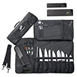Chef Knife Roll Bag (16 Slots) Holds 12 Knives, 1 Meat Cleaver, And 3 Utensil Pockets. Top Quality Portable Chef Knife Case - Includes 2 Knife Guards, Handle, Shoulder Strap & Business Card Holder
