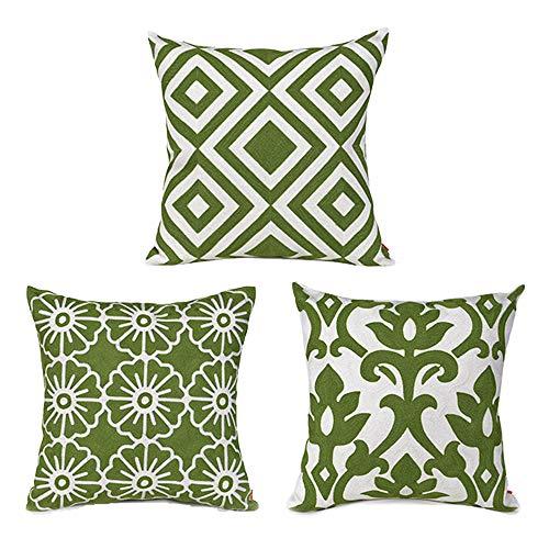 baibu Cotton Decor Throw Pillow Case Vintage Embroidery Design Cushion Cover Green 3PCS