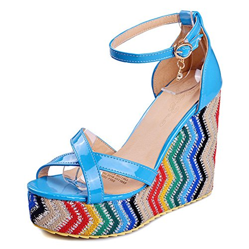 COOLCEPT Women Fashion Ankle Strap Sandals Open Toe Wedge Heel Shoes Blue