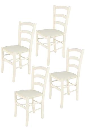 Tommychairs sillas de Design - Set 4 Sillas Modelo Venice para Cocina, Comedor, Bar y Restaurante, Estructura en Madera de Haya Color anilina Blanca y ...