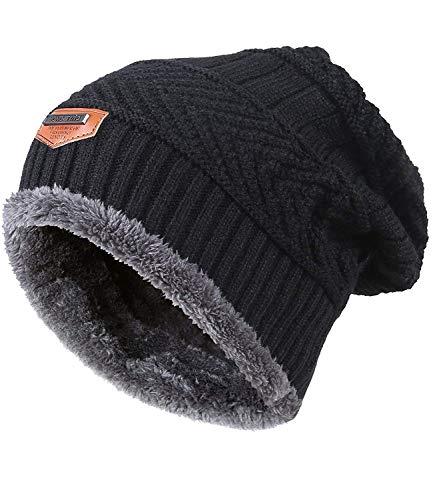 King Star Men Beanies Hat Winter Thick Warm Knit Skull Cap Black ()