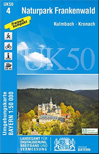 UK50-4 Naturpark Frankenwald: Kulmbach, Kronach, Ludwigstadt, Naila, Wurzbach, Saalburg-Ebersdorf, Teuschnitz, Bad Lobenstein, Selbitz, Wallenfels, ... Karte Freizeitkarte Wanderkarte)