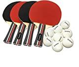 Pro Ping Pong Paddle Set - (Set of 4 Rubber Paddles & 8 Balls) Table Tennis Racket & Ping Pong Balls for Adults, Kids and Family Entertainment, or Professional Practice, Travel Holder Case Included