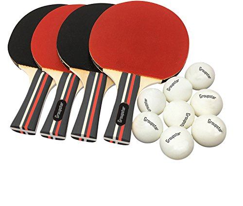 Pro Ping Pong Paddle Set - (Set of 4 Rubber Paddles & 8 Balls) Table Tennis Racket & Ping Pong Balls for Adults, Kids and Family Entertainment, or Professional Practice, Travel Holder Case Included by ETCBUYS