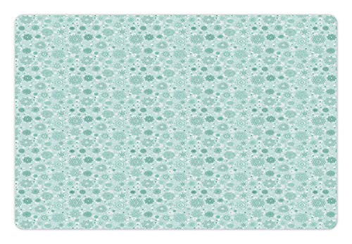 Lunarable Snowflake Pet Mat for Food and Water, Pastel Green Tones Abstract Winter Frost ICY Crystals Christmas Theme Image, Rectangle Non-Slip Rubber Mat for Dogs and Cats, - Icy 12 Crystal