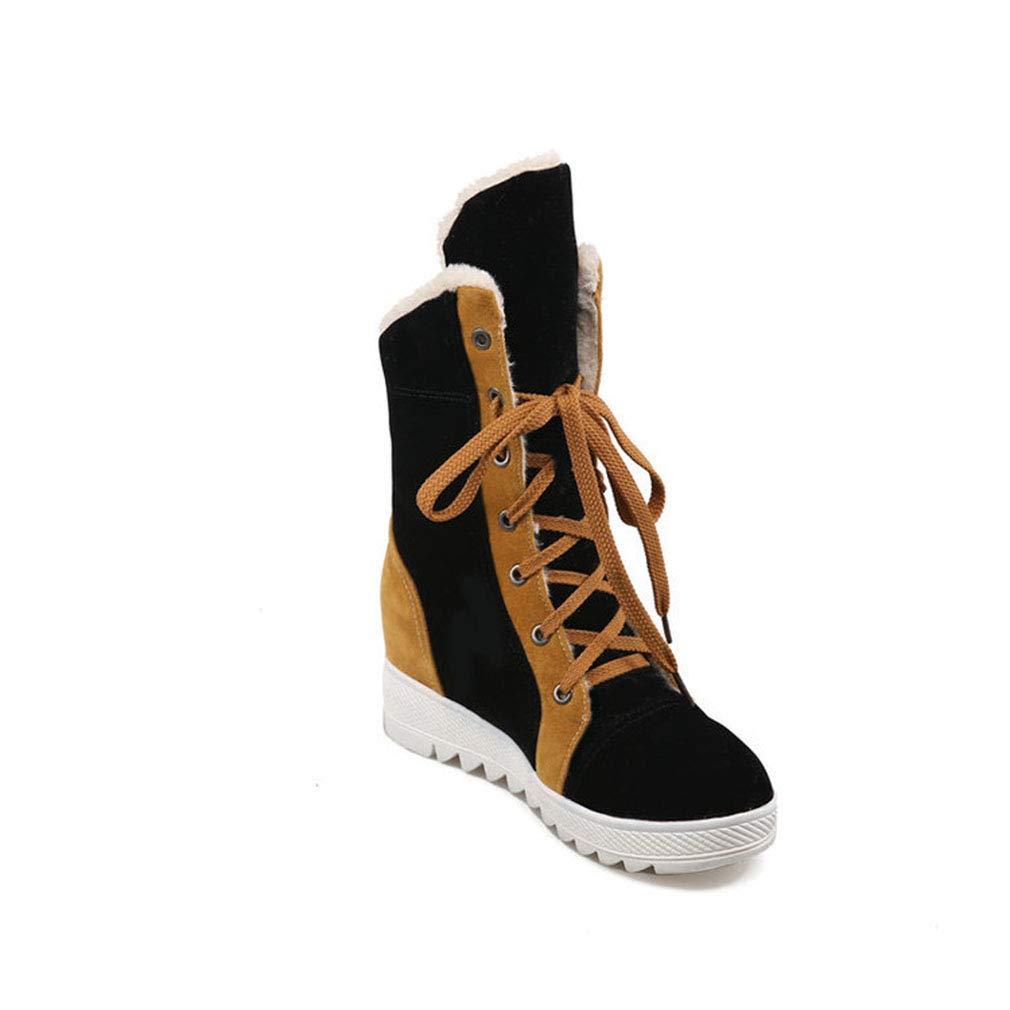 Hy Hy Hy Damen Freizeitschuhe Winter Wildleder Lace-up Snow Stiefel Stiefel Damen Flat Large Größe Booties/Stiefeletten Winter Stiefel (Farbe : Schwarz, Größe : 36) - 022de3