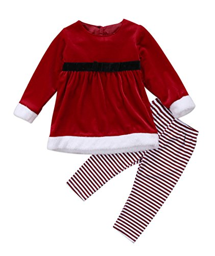 Red Striped Pants Costume (Baby Girls Christmas Costume Outfits Velvet Santa Dress and Striped Long Pants (18-24 Months, Red))