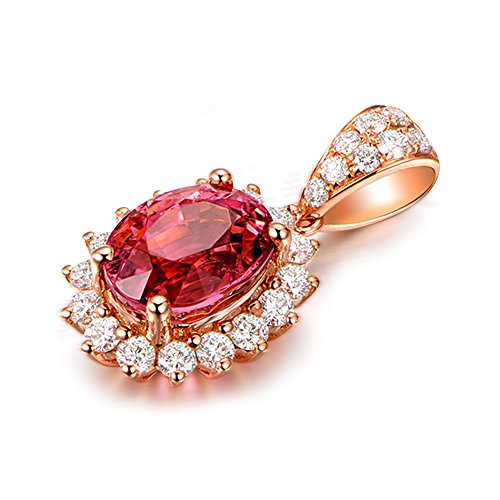 Fashion 1.81ct Oval Cut Shaped Tourmaline Gemstone Real Diamond 14K Solid Rose Gold Wedding Engagement Pendant Sets by Kardy