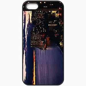 Unique Design Fashion Protective Back Cover For iPhone 5 5S Case Evening Building Coast Lights Black