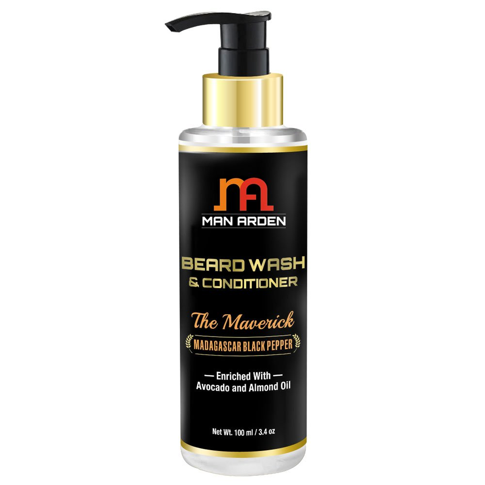 Man Arden Beard Wash (Shampoo) & Conditioner - The Maverick - With Avocado and Almond Oil 100ml- (Pack Of 3)