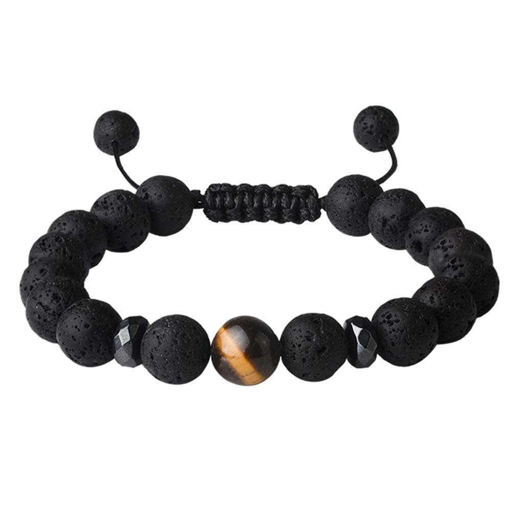 Jeka Men Women Lava Stone Bracelet Anxiety Aromatherapy Essential Oil Diffuser Natural Mala Beads Yoga Meditation Energy Jewelry Braided Rope Adjustable