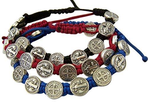 Saint Benedict Medal - Saint Benedict Evil Protection Medal on Adjustable Cord Bracelet, Set of 3, 8 Inch