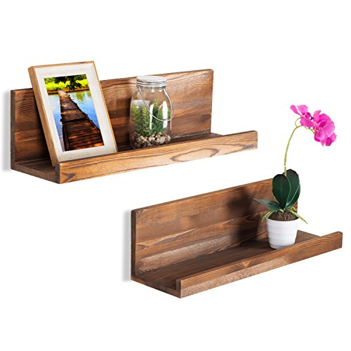 MyGift 24-Inch Rustic Wall Mounted Natural Wood Floating Shelves, Set of 2