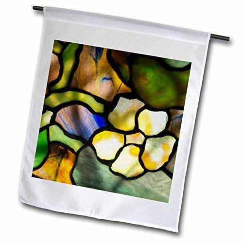3dRose Danita Delimont - Artwork - New York, Tiffany stained glass lamp shade. - 12 x 18 inch Garden Flag (Floral Stained Glass Lamp Shades)