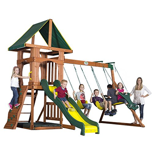 Backyard Discovery Santa Fe All Cedar Wood Playset Swing Set