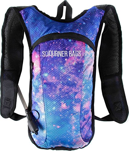 SoJourner Hydration Pack Backpack - 2L Water Bladder included for festivals, raves, hiking, biking, climbing, running and more (galaxy - Coachella Men's Style