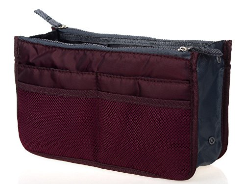Moeni Travel Insert Handbag Women Makeup Bag Multifunctional Purse Liner Organizer Cosmetic Bag (Burgundy) Burgundy Insert