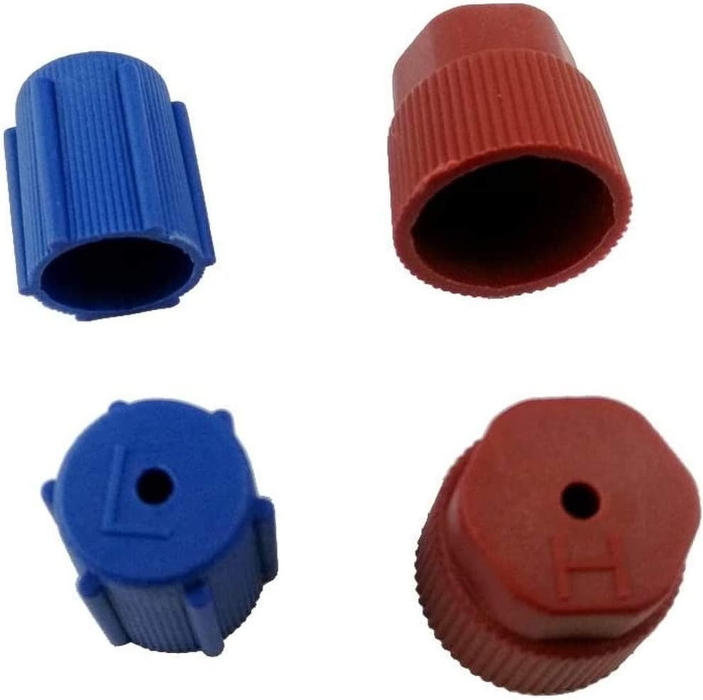 4 PIECES AC CHARGING PORT R134a SIDE AIR CONDITIONING CAP 13MM BLUE+16MM BROWN