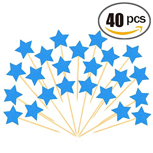 40pcs Twinkle Star Cupcake Toppers DIY Glitter Mini Birthday Cake Snack Decorations Picks Suppliers Party Accessories for Wedding Baby Shower