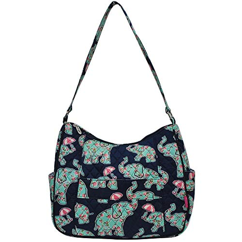 - Ngil Quilted Cotton Hobo Shoulder Bag (Baby Elephant Navy)