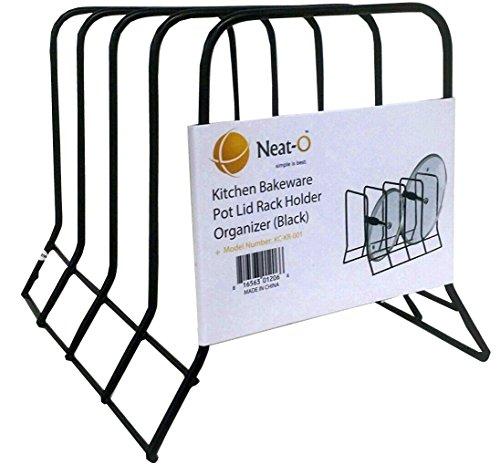 Large Product Image of Kitchen Bakeware Pot Lid Rack Holder Organizer (Black)