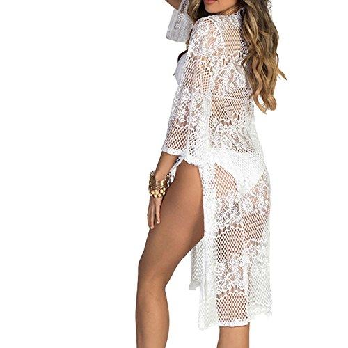 Pizzo E Murstido Mare Bagno Bianco Cover Parei Bikini Donna Copricostume Cardigan Up Da Cape Spiaggia XXrTqv