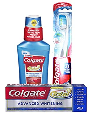 Colgate Total Lasting White Mouthwash, Advanced Whitening Toothpaste and Soft Toothbrush Bundle (3 items)