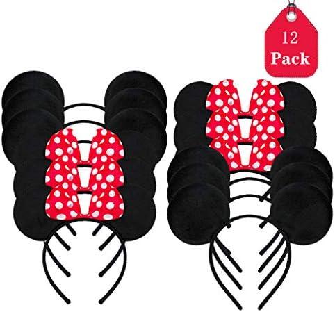 Amycute 12 pcs Mouse Ears Stirnbänder Maus Ohren mit roter Schleife und weißen Punkten & Maus Ohren in schwarz für Geburtstag Baby Shower Valentine's Day Halloween Christmas.