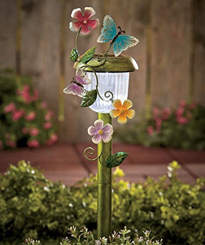 Solar Powered Butterfly Stake Whimsical Garden Yard Lawn Flowerbed Decoration