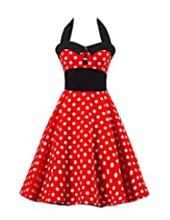 Kisstyle Women Halter Style Vintage Polka Dot Casual Dress