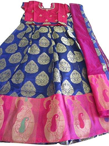 Gorgeous Lehenga Saree (Gorgeous Chanderi Silk Blue and Pink Langa Voni Half Saree 10 to 11 Years Girl)