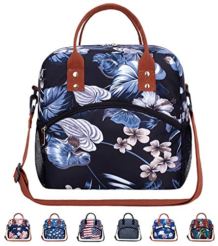 Insulated Fashional Large Reusable Water-resistant Cooler Tote Lunch Bag Box with Removable Adjustable Shoulder Strap for Office Work School Picnic Hiking Beach-Black Flower