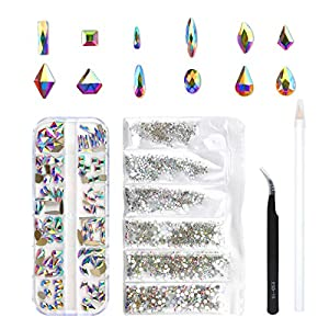 120 Pcs Multi Shapes Glass Crystal AB Rhinestones For Nail Art Craft, Mix 12 Style FlatBack Crystals 3D Decorations Flat…