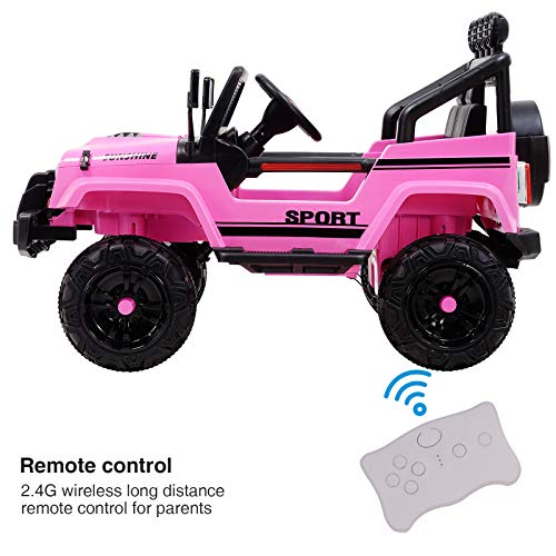 Uenjoy Electric Kids Ride On Cars 12V Battery Motorized Vehicles W/ Wheels Suspension, Remote Control, Music& Story Playing, Colorful Lights, Sunshine Model, Pink by Uenjoy (Image #3)