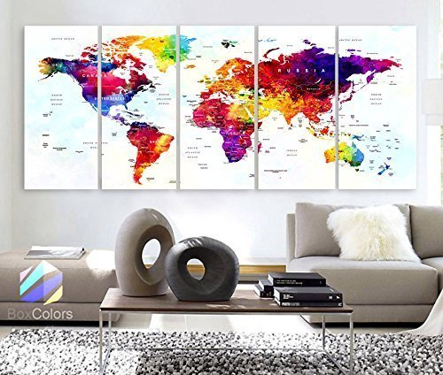 Original by BoxColors Xlarge 30''x 70'' 5 Panels 30x14 Ea Art Canvas Print World Map Original Watercolor Push Pin Travel cities Wall Home Office decor (framed 1.5'' depth) by BoxColors