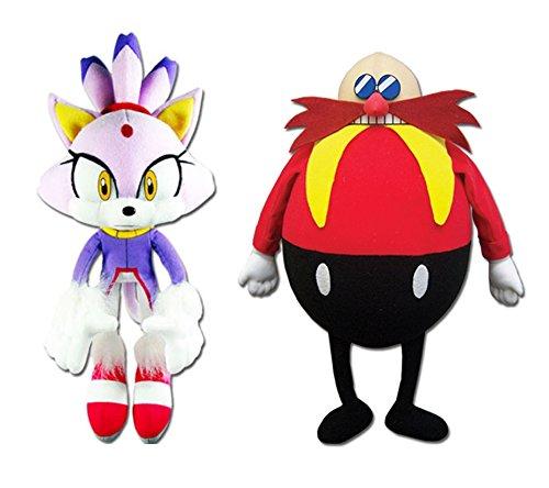 GE Animation Set of 2 Sonic the Hedgehog Blaze the Cat & Dr. Eggman Stuffed - Cat Blaze