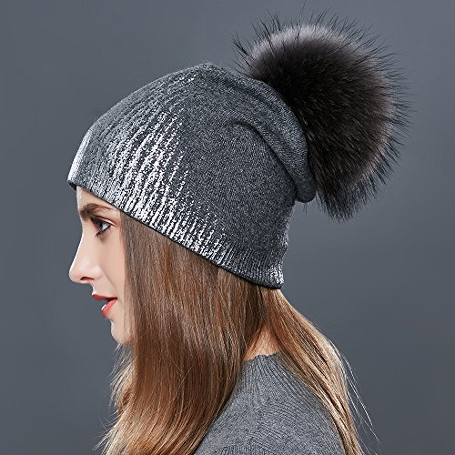 266a2c0fb89dc3 Womens Pom Pom Beanie for Winter Hats Real Fox Fur Slouchy Hat Sparkle  Shiny - Buy Online in Oman. | Apparel Products in Oman - See Prices,  Reviews and Free ...