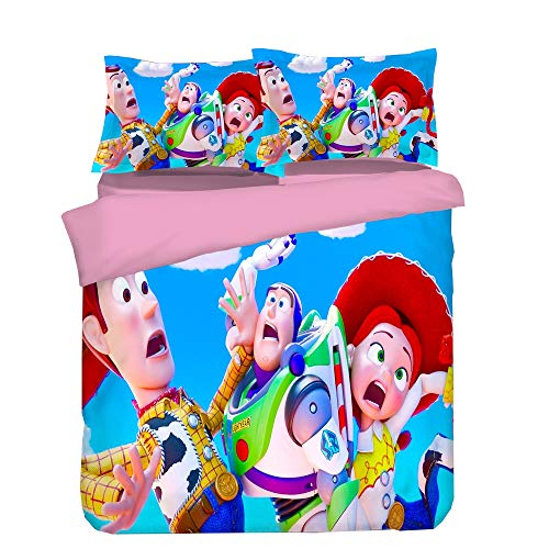 Children's Bedding Set of 3, Duvet Cover Pillowcase Toy Story Print Does Not Fade Soft Hypoallergenic Microfiber,03,Twin