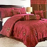 Rustic Burgundy Texas Star Western Star Luxury Comforter Suede - 7 Pieces Set (Oversized Queen)