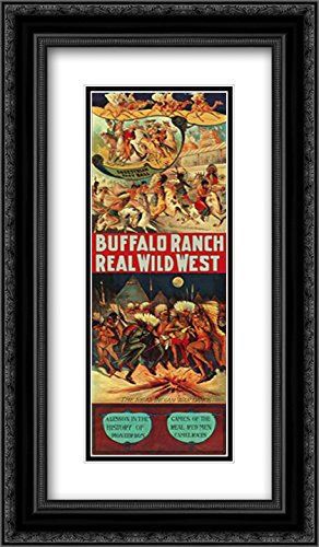 Anonymous 19x40 Black Ornate Frame and Double Matted Museum Art Print Titled Real Indian War Dance